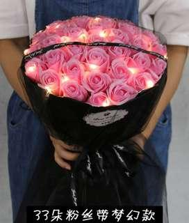 Pink / Purple / Blue Roses Bouquet - Valentine Day / Anniversary / Birthday / Proposal / Farewell / Graduation