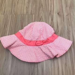 🚚 Gymboree粉紅線條大圓帽 2T-3T