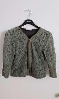 Army green lace zip up blouse