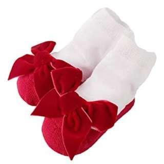 🚚 SOC005 Baby Girl Red Velvet Bow Socks (0-2 yrs)