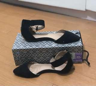 Parisian Ponited Flats with Strap (Black)