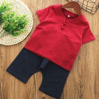 🚚 TZ045 Boys Traditional Chinese 2 pc Red Top Black Harem Pants Kungfu Set