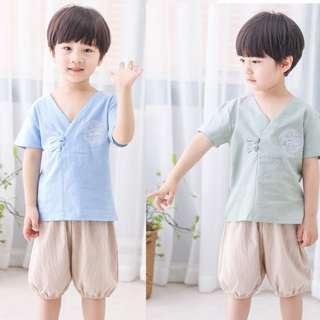 🚚 TZ046 Boys Traditional Chinese 2 pc Top & Pants Kungfu Set