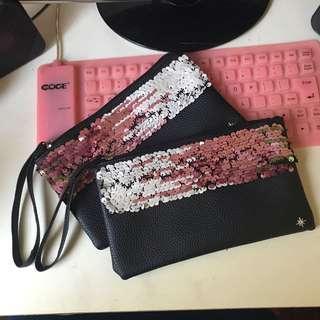 Sequin Zipper Mini Clutch Wallet #CNY888