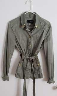 Armani Jeans army green trench style jacket