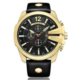 Jam tangan kulit analog pria