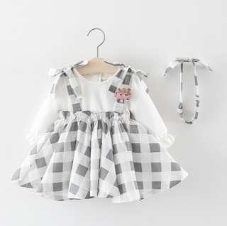 🚚 🌟PM for price🌟 🍀Baby Girl Long Sleeves Plaid Dress+Headband 2pcs Set🍀