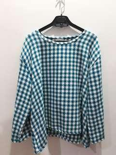[Bigsize] Curvy Blue Checkered Blouse