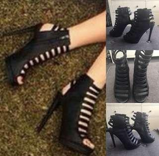 🖤KOOKAI : SOLD OUT : Size 36 (6) Black Leather Cage Heels