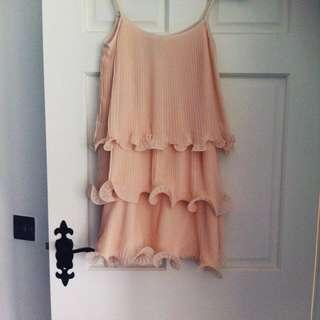 h&m peach pleated layered dress with ruffle detail