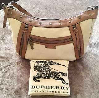 Authentic BURBERRY blue label canvas large body bag/ hobo bag