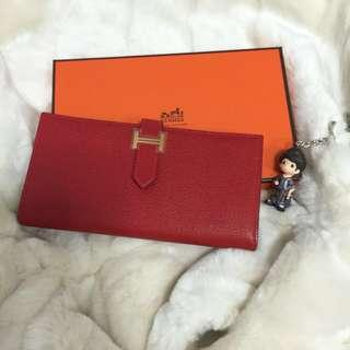 BNIB Hermès Coveted Rouge Casaque Bearn Wallet