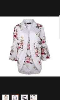 Floral Blouse/jacket - Japanese kimono style with crochet details - Brand new