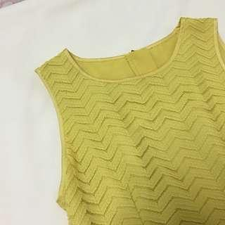Yellow Mustard sleeveless blouse top