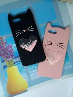 New! 2 colors! 3D Lucky Cat Whisker Heart w/Moving Glitters