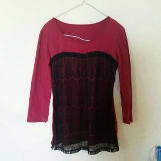 Wine Red Lace Long Sleeve Top