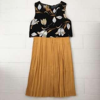 Vintage Inspired Dress Pleated Mustard Yellow Floral