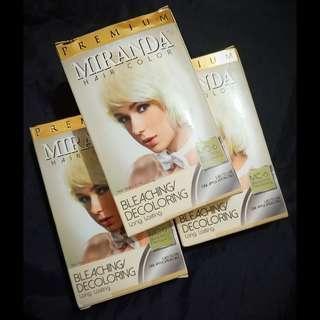 3 Pcs Miranda Hair Color Premium: Bleaching/Decoloring. Long lasting. MC-6. 30g + 30ml
