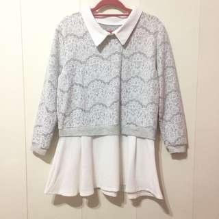 🚚 【喵喵-二手】假兩件設計 灰色底搭配細蕾絲上衣