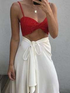 Red crop top tie back