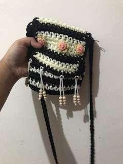 Knitted black sling purse (never used)