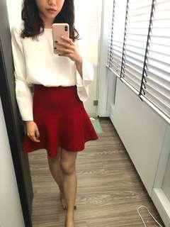Waisted flare red skirt
