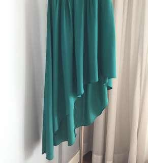 Warehouse UK green asymmetric skirt