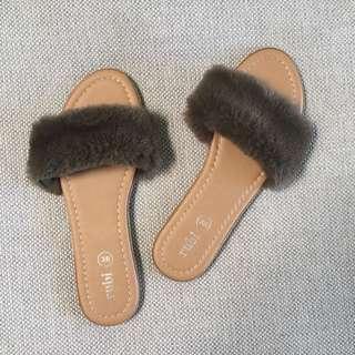 Khaki Fluffy Shoes