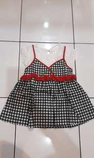 Dress anak korea kotak hitam putih