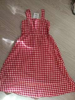Brand new red and white checkered dress