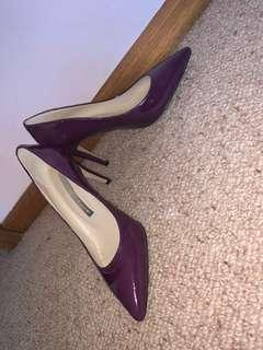 Wayne Cooper dark purple heels
