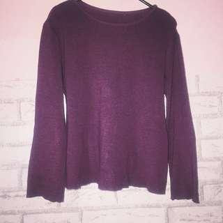 atasan semi sweater tipis maroon
