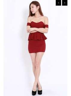 Carrislabelle Sweetheart Peplum Offsie Dress - Maroon (Off Shoulder)