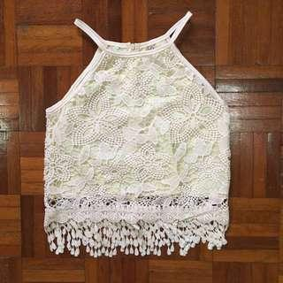 Halter White Crochet Lace Basic Casual Outing Crop Top Tee #springclean60