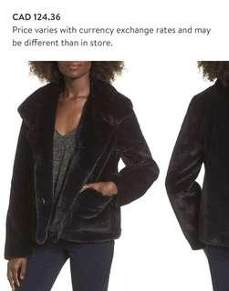 Black Faux Fur Jacket Size Small