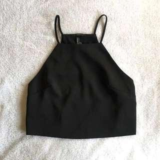 Forever 21 Basic Casual Outing Halter Back Cut Out Crop Top Tee Black #JAN55