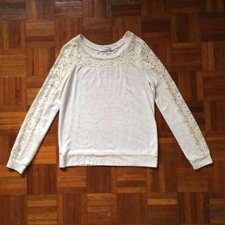 H&M White Lace Sweater Top #springclean60
