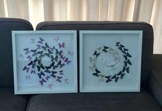 Framed 3-D Butterfly wall decorations