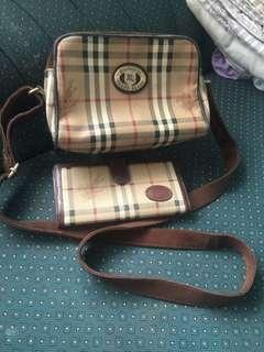 Authentic burberry sling bag and long wallet