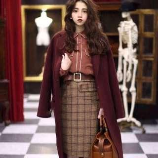Dresseum 從前從前 茂木太太 韓貨時期 羊毛格紋裙