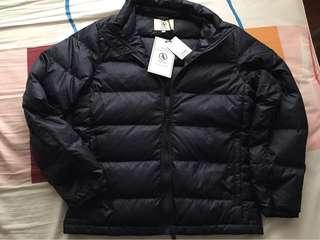 日版Aigle 女裝 深藍色羽絨外套,白色Fleece外套, M size