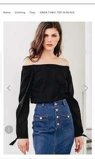 Gwen tunic top- black - Size XS