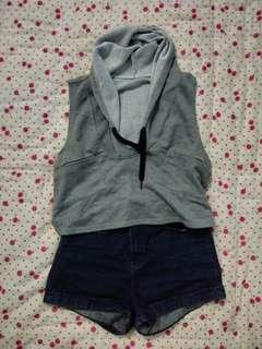 Cropped top with Hoodie