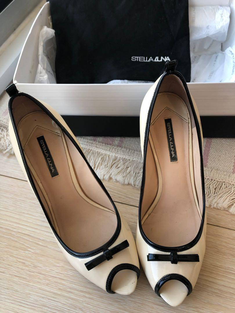 10cm platform heels, beige and black, perfect for party or wedding
