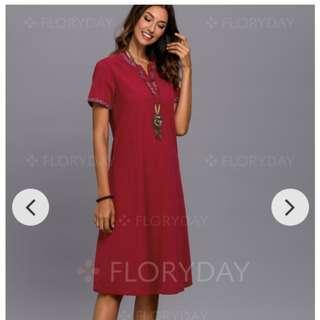 22290e4ce1  Size M  Short Sleeve Midi Shift Dress