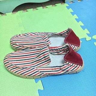 古著 條紋懶人鞋 全新 吊牌已拆 一次購買兩件9折三件85折