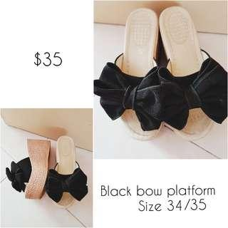 High platform w Black velvet bow