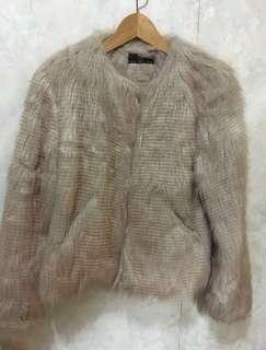 購自英國new look faux fur 毛毛外套 dusty pink 灰粉色 大褸 大衣 coat jacket 英倫風
