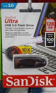 Brand new SanDisk Ultra USB3.0 Flash Drive 128Gb selling at $38.50