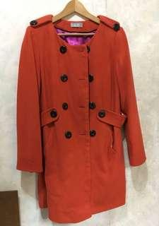 購自英國Wallis72%wool 大褸 vintage style 大碼 大衣 長褸 大褸 外套 羊毛 珊瑚色